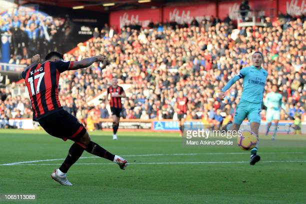Joshua King of AFC Bournemouth scores the equalising goal during the Premier League match between AFC Bournemouth and Arsenal FC at Vitality Stadium...