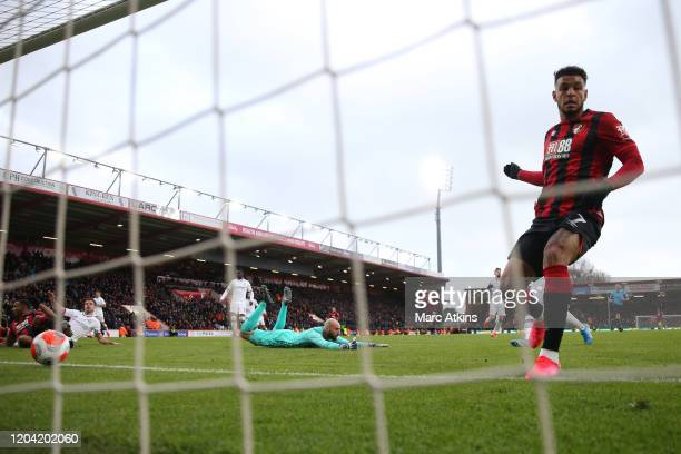 Joshua King of AFC Bournemouth scores their 2nd goal during the Premier League match between AFC Bournemouth and Chelsea FC at Vitality Stadium on...