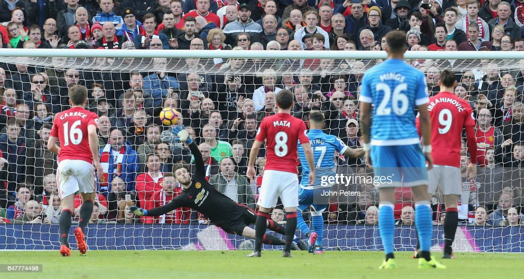 Joshua King of AFC Bournemouth scores their first goal during the Premier League match between Manchester United and AFC Bournemouth at Old Trafford on March 4, 2017 in Manchester, England.