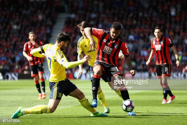 Joshua King of AFC Bournemouth takes on Antonio Barragan of Middlesbrough during the Premier League match between AFC Bournemouth and Middlesbrough...