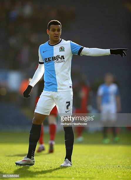 Joshua King of Blackburn in action during the FA Cup Fourth Round match between Blackburn Rovers and Swansea City at Ewood park on January 24 2015 in...