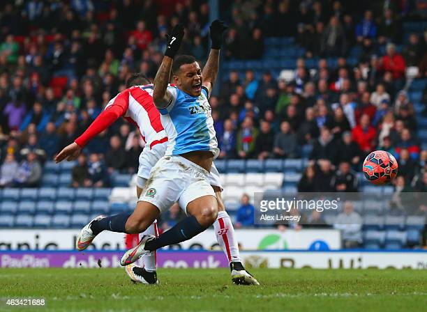 Joshua King of Blackburn is fouled by Geoff Cameron of Stoke City to win a penalty during the FA Cup Fifth Round match between Blackburn Rovers and...