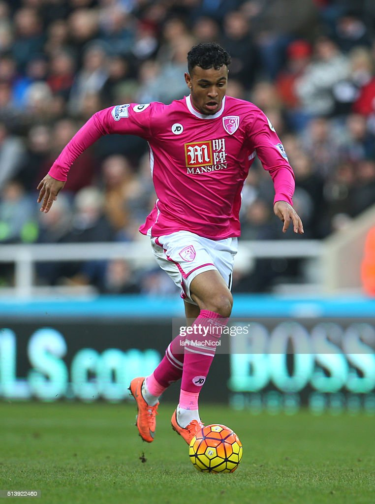 Joshua King of Bourenmouth controls the ball during the Barclays Premier League match between Newcastle United and A.F.C. Bournemouth at St James Park on March 5, 2016 in Newcastle, England.