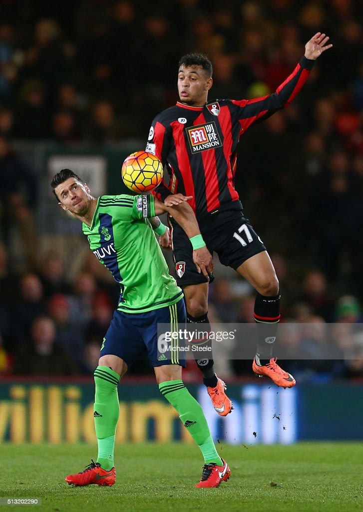 Joshua King of Bournemouth and Jose Fonte of Southampton compete for the ball during the Barclays Premier League match between A.F.C. Bournemouth and Southampton at Vitality Stadium on March 1, 2016 in Bournemouth, England.
