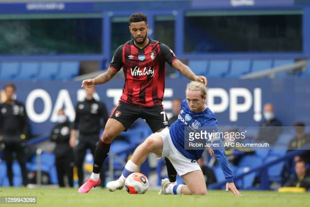 Joshua King of Bournemouth and Tom Davies of Everton during the Premier League match between Everton FC and AFC Bournemouth at Goodison Park on July...