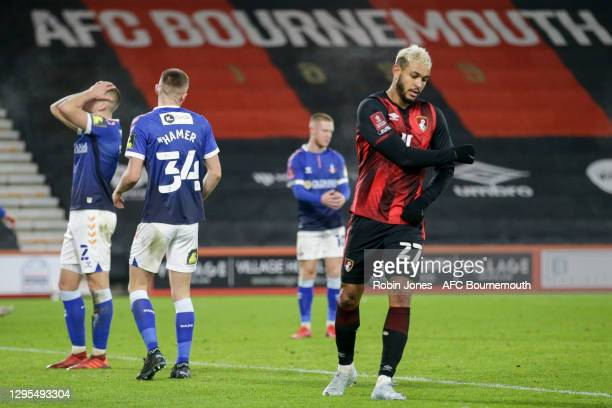 Joshua King of Bournemouth celebrates after he heads in and scores a goal to make it 3-1 during FA Cup 3rd Round match between Oldham Athletic and...