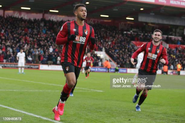 Joshua King of Bournemouth celebrates after he scores a goal to make it 21 during the Premier League match between AFC Bournemouth and Chelsea FC at...