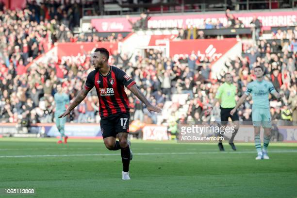 Joshua King of Bournemouth celebrates after scoring a goal to make it 11 during the Premier League match between AFC Bournemouth and Arsenal FC at...