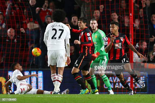 Joshua King of Bournemouth celebrates scoring his team's second goal during the Barclays Premier League match between AFC Bournemouth and Manchester...