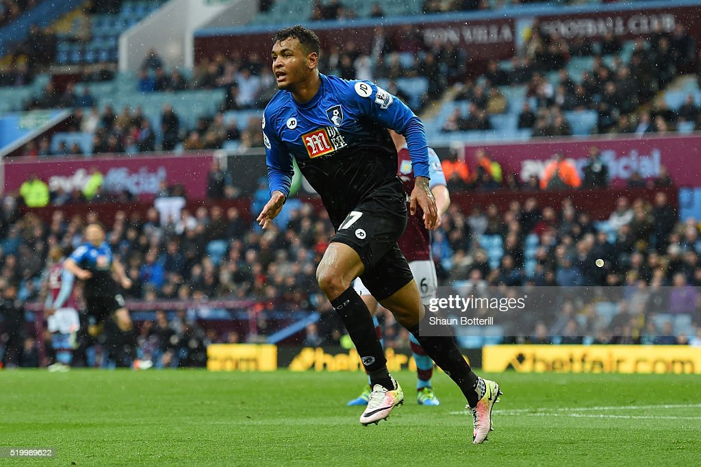 Joshua King of Bournemouth celebrates scoring his team's second goal during the Barclays Premier League match between Aston Villa and A.F.C. Bournemouth at Villa Park on April 9, 2016 in Birmingham, England.