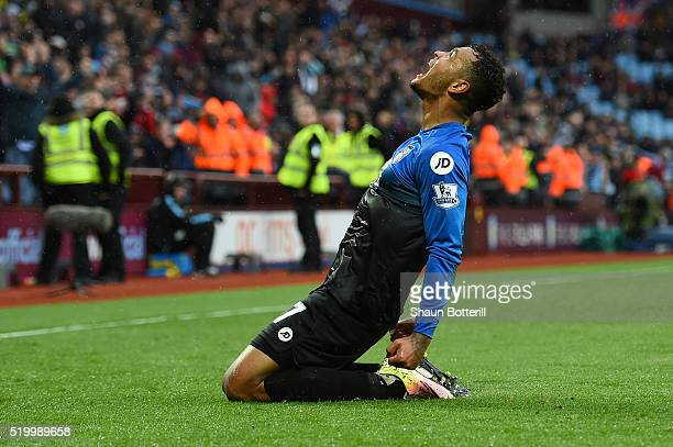 Joshua King of Bournemouth celebrates scoring his team's second goal during the Barclays Premier League match between Aston Villa and AFC Bournemouth...