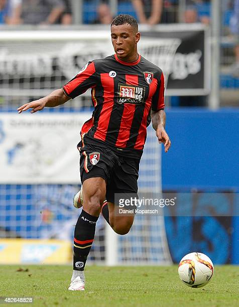 Joshua King of Bournemouth controls the ball during the friendly match between 1899 Hoffenheim and AFC Bournemouth at Wirsol RheinNeckarArena on...