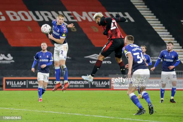 Joshua King of Bournemouth heads in and scores a goal to make it 3-1 during FA Cup 3rd Round match between Oldham Athletic and AFC Bournemouth at...