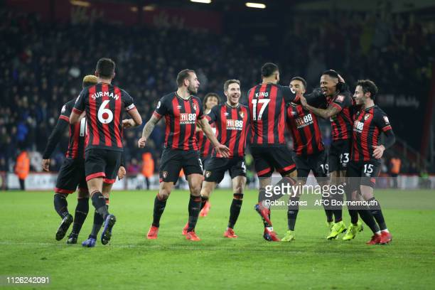 Joshua King of Bournemouth is congratulated by teammates after he scores a goal to make it 30 during the Premier League match between AFC Bournemouth...