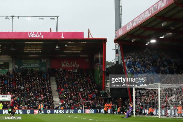 Joshua King of Bournemouth scores a goal to make it 1-1 during the Premier League match between AFC Bournemouth and Newcastle United at Vitality...