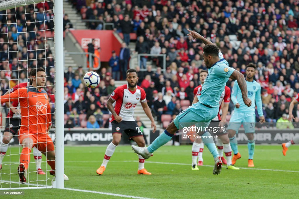 Joshua King of Bournemouth scores a goal to make it 1-1 during the Premier League match between Southampton and AFC Bournemouth at St Mary's Stadium on April 28, 2018 in Southampton, England.