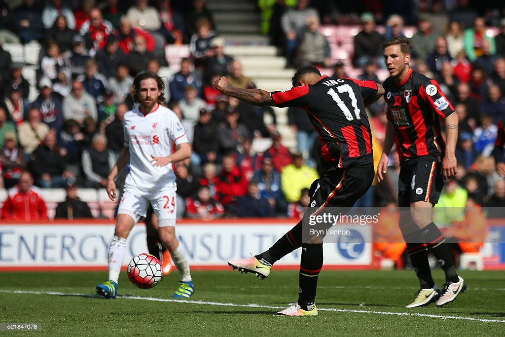 Joshua King of Bournemouth scores his team's first goal of the game during the Barclays Premier League match between A.F.C. Bournemouth and Liverpool at the Vitality Stadium on April 17, 2016 in Bournemouth, England.