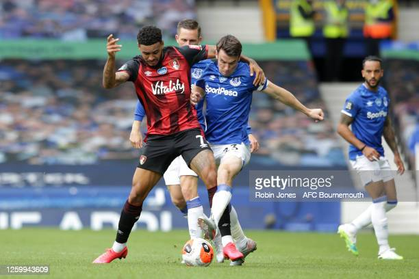 Joshua King of Bournemouth with Seamus Coleman of Everton during the Premier League match between Everton FC and AFC Bournemouth at Goodison Park on...