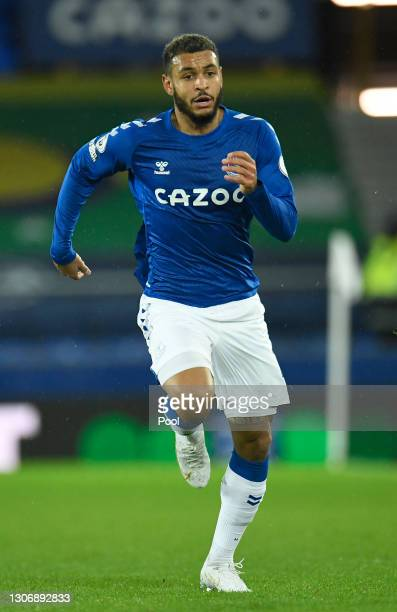 Joshua King of Everton in action during the Premier League match between Everton and Burnley at Goodison Park on March 13, 2021 in Liverpool,...