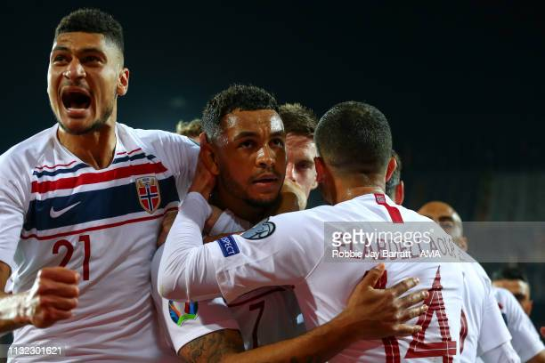 Joshua King of Norway celebrates after scoring a goal to make it 11 during the 2020 UEFA European Championships group F qualifying match between...