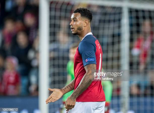 Joshua King of Norway during the UEFA Nations League C group three match between Norway and Slovenia at Ullevaal Stadion on October 13, 2018 in Oslo,...