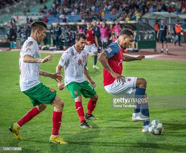 Joshua King of Norway Galin Ivanov Strahil Popov of Bulgaria during the UEFA Nations League C group three match between Bulgaria and Norway at Vasil...