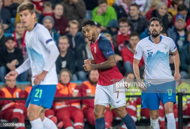 Joshua King of Norway Jaka Bijol Miha Mevlja of Slovenia during the UEFA Nations League C group three match between Norway and Slovenia at Ullevaal...