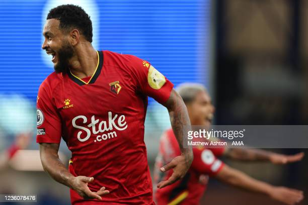 Joshua King of Watford celebrates after scoring a goal to make it 2-4 during the Premier League match between Everton and Watford at Goodison Park on...