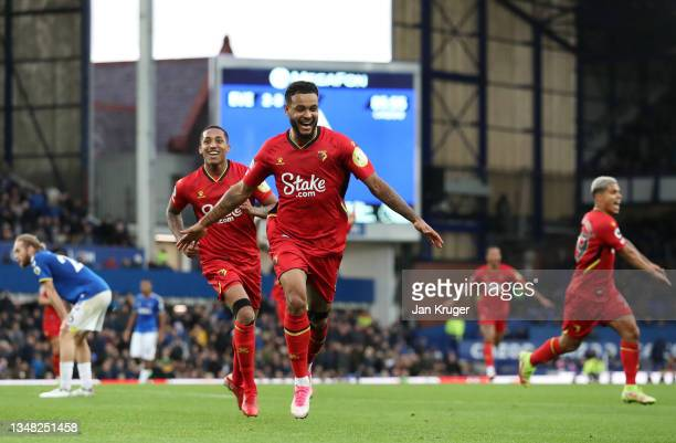 Joshua King of Watford FC celebrates after scoring their side's fourth goal during the Premier League match between Everton and Watford at Goodison...