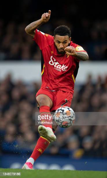 Joshua King of Watford scores their third goal goal and his second during the Premier League match between Everton and Watford at Goodison Park on...