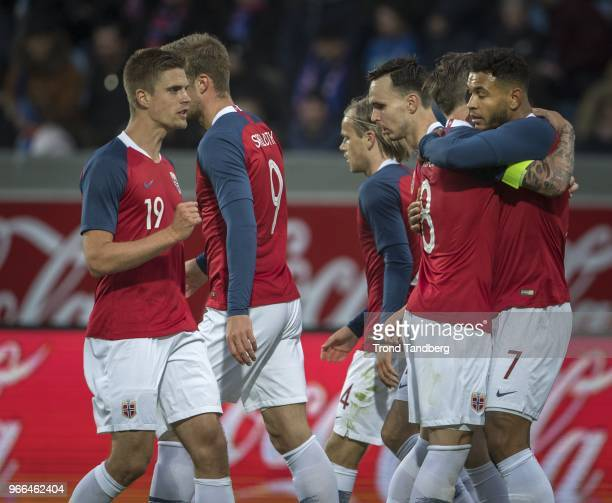 Joshua King Stefan Johansen Markus Henriksen Ole Kristian Selnaes Iver Fossum of Norway celebrate goal during International Friendly between Iceland...