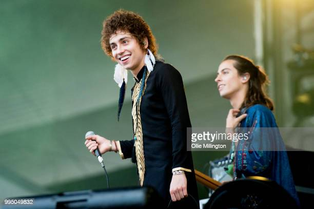 Joshua Kiszka and Sam Kiszka of Greta Van Fleet perform onstage at the mainstage at The Plains of Abraham in The Battlefields Park during day 5 of...