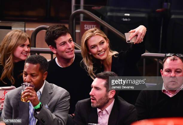 Joshua Kushner and Karlie Kloss attend Houston Rockets v New York Knicks game at Madison Square Garden on January 23 2019 in New York City