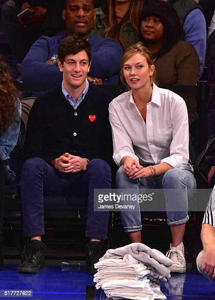 Joshua Kushner and Karlie Kloss attend the Cleveland Cavaliers vs New York Knicks game at Madison Square Garden on March 26 2016 in New York City