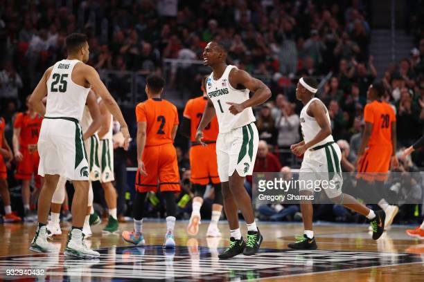 Joshua Langford of the Michigan State Spartans reacts during the second half against the Bucknell Bison in the first round of the 2018 NCAA Men's...