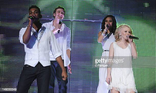 Joshua Ledet Phillip Phillips Jessica Sanchez and Hollie Cavanagh perform as part of the American Idols Live Tour presented by Chips Ahoy and Ritz at...