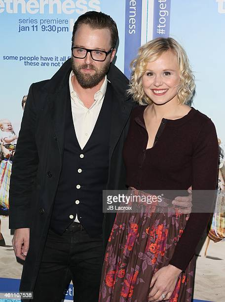 Joshua Leonard and Alison Pill arrive at the Premiere of HBO's 'Togetherness' held at Avalon on January 6 2015 in Hollywood California