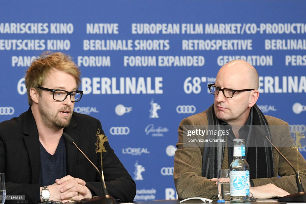 Joshua Leonard and Steven Soderbergh attend the 'Unsane' press conference during the 68th Berlinale International Film Festival Berlin at Grand Hyatt Hotel on February 21, 2018 in Berlin, Germany.