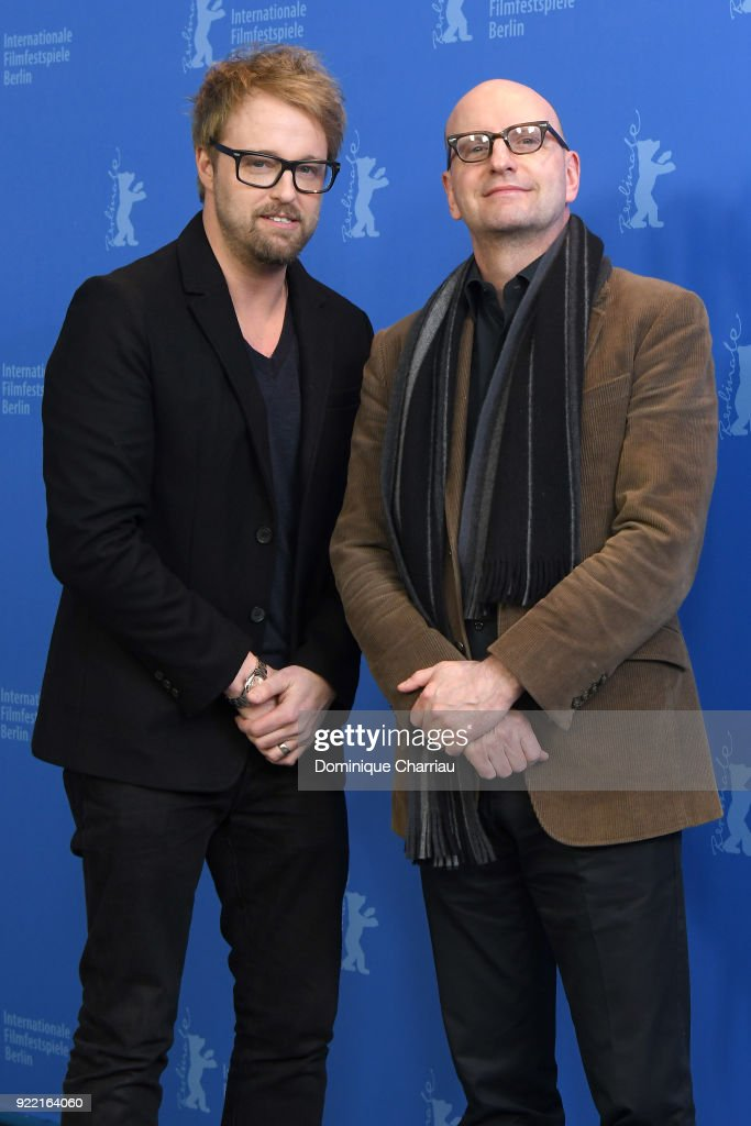 Joshua Leonard and Steven Soderbergh pose at the 'Unsane' photo call during the 68th Berlinale International Film Festival Berlin at Grand Hyatt Hotel on February 21, 2018 in Berlin, Germany.