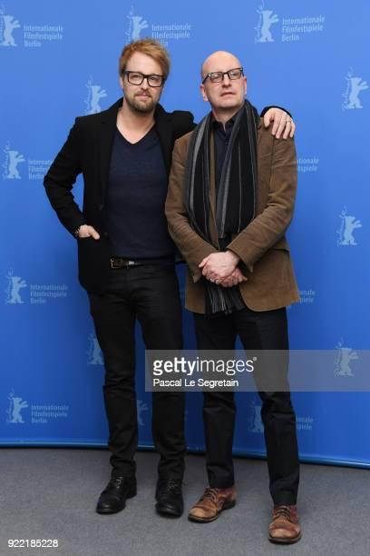 Joshua Leonard and Steven Soderbergh pose at the 'Unsane' photo call during the 68th Berlinale International Film Festival Berlin at Grand Hyatt...