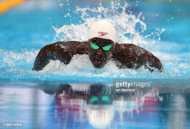 Joshua Liendo of Canada competes in the semi final of the men's 100m Butterfly during day two of the FINA World Junior Swimming Championships at Duna...