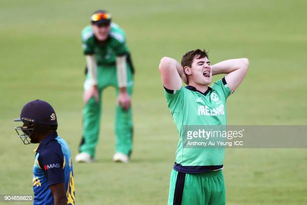 Joshua Little of Ireland reacts during the ICC U19 Cricket World Cup match between Sri Lanka and Ireland at Cobham Oval on January 14 2018 in...