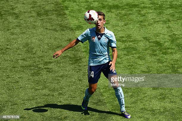 Joshua MacDonald of Sydney FC controls the ball during the round 15 Youth League match between Sydney FC and the Brisbane Roar at Sydney United...