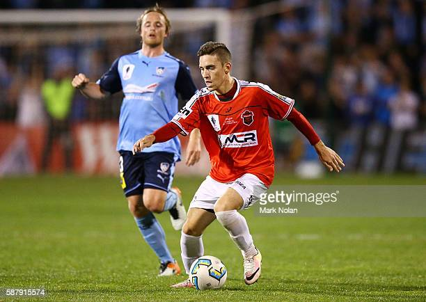 Joshua MacDonald of the Wolves controls the ball during the FFA Cup round of 32 match between the Wollongong Wolves and Sydney FC at WIN Stadium on...