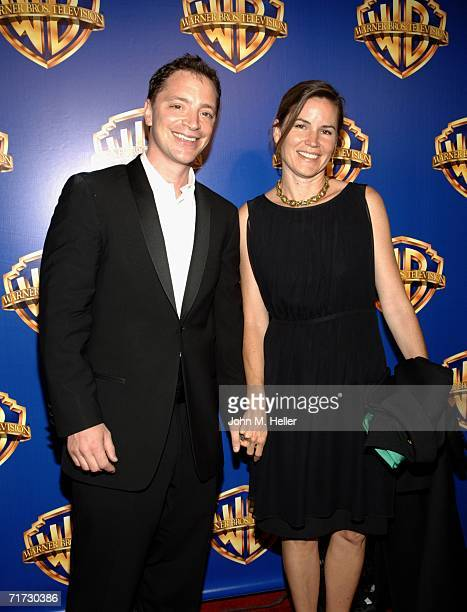 Joshua Malina and Melissa Merwin attend the Warner Brothers Television Emmy Party at Cicada on August 27 2006 in Los Angeles California
