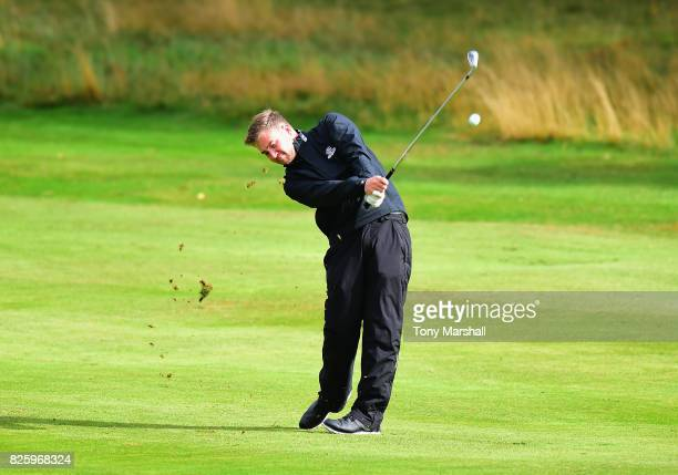 Joshua Mayo of Parc Golf Club/Asbri Golf plays his second shot on the 1st fairway during Day Two of the Galvin Green PGA Assistants' Championship at...