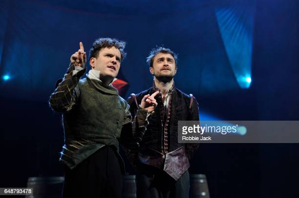 Joshua McGuire as Guildenstern and Daniel Radcliffe as Rosencrantz in Tom Stoppard's Rosencrantz Guildenstern Are Dead directed by David Leveaux at...
