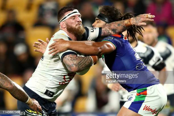 Joshua McGuire of the Cowboys charges forward during the round 6 NRL match between the Warriors and the Cowboys at Mt Smart Stadium on April 20 2019...
