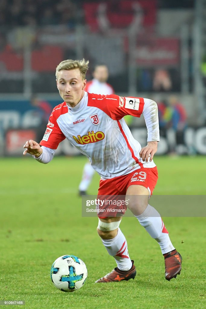 Joshua Mees of Regensburg plays the ball during the Second Bundesliga match between SSV Jahn Regensburg and FC Ingolstadt 04 at Continental Arena on January 26, 2018 in Regensburg, Germany.