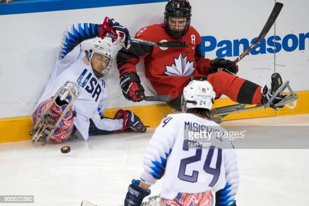 Joshua MISIEWICZ Declan FARMER and Tyler McGREGOR during The Ice Hockey gold medal game between Canada and United States during day nine of the...